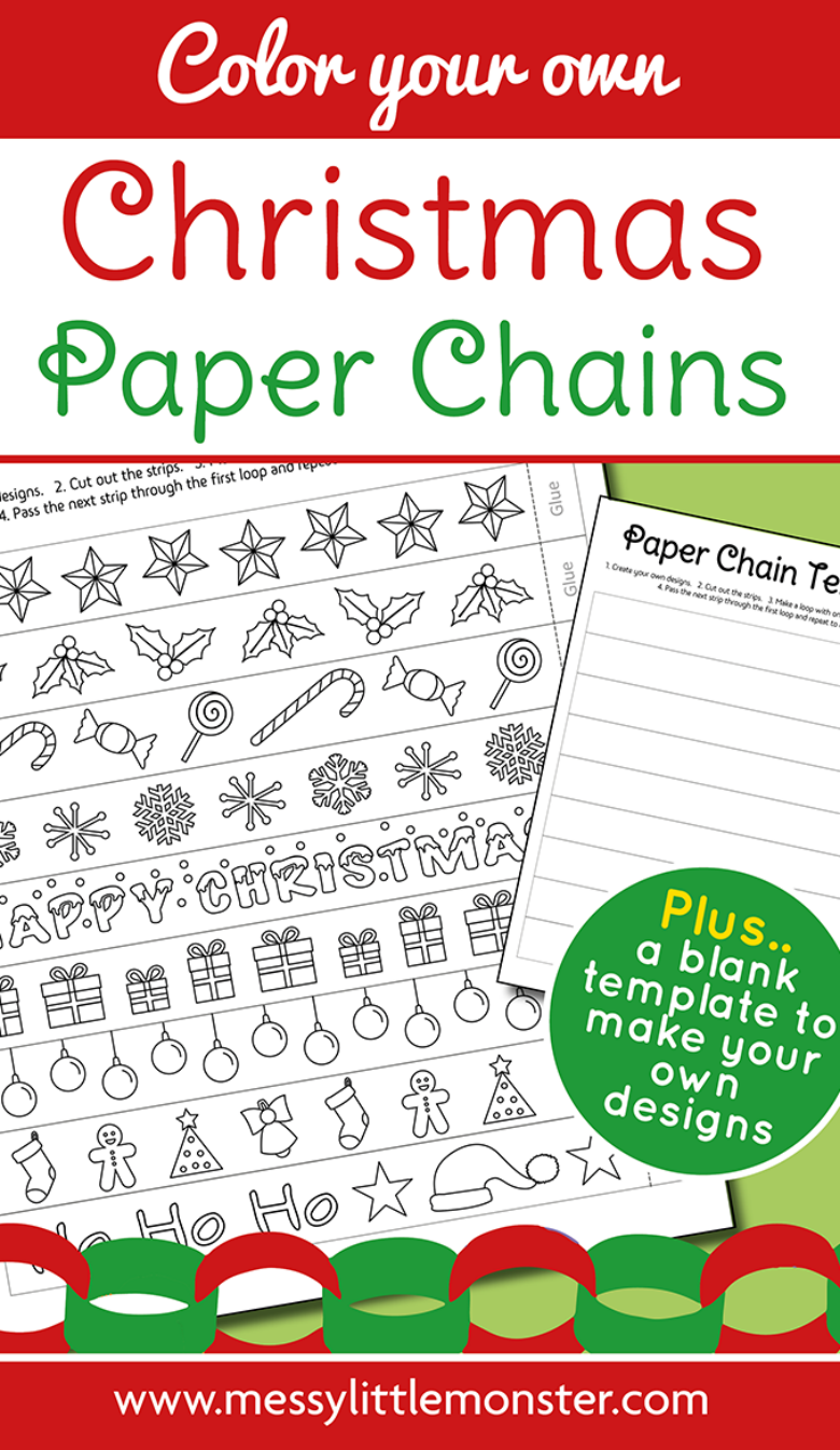 Printable Christmas paper chains craft for kids. Blank paper chain template also included