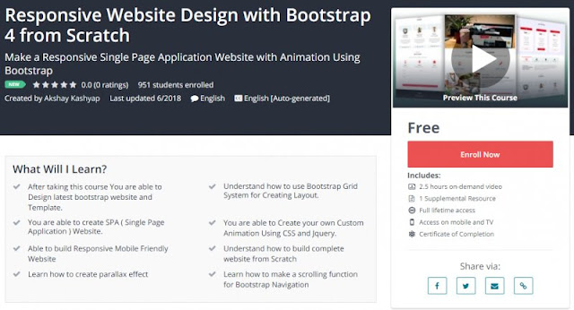 [100% Free] Responsive Website Design with Bootstrap 4 from Scratch
