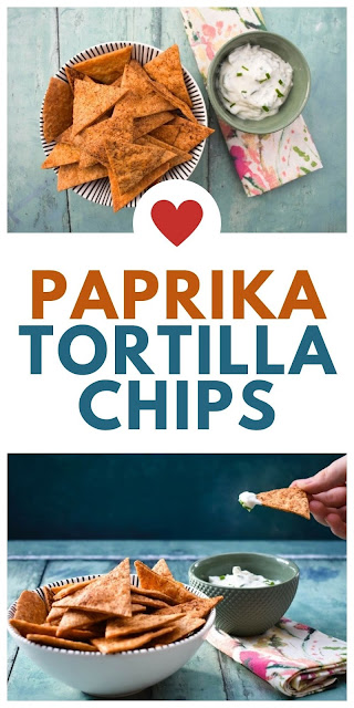 Easy homemade baked paprika tortilla chips
