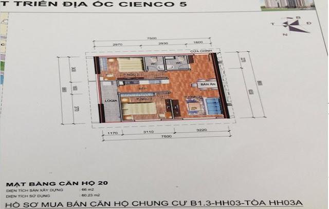 Sơ đồ thiết kế căn hộ 20 chung cư B1.3 HH03A Thanh Hà Cienco 5