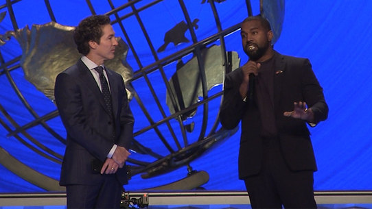 Watch: Kanye West says he's Working for God Again as he Visits Joel Osteen's Sunday Service