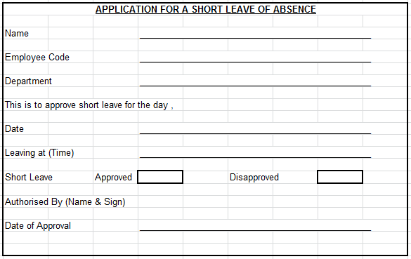 Leave Application Format For Office – Leave Application Format for Employee