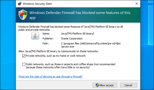 تنبيه أمان Windows Defender على Windows 10.