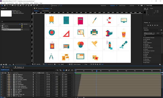 مجموعة من الأيقونات المتحركة داخل برنامج After Effects