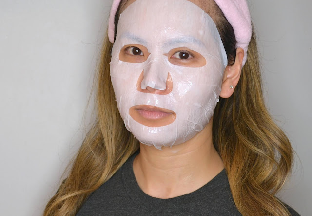 mask selfie of merbliss wedding dress ruby sheet mask