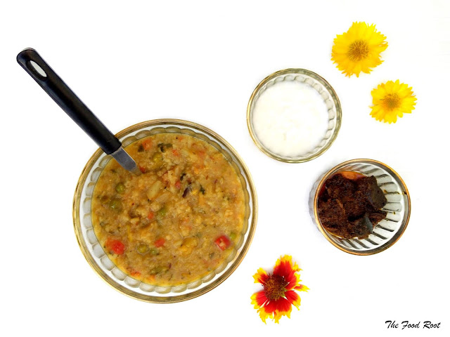 Masala khichdi is a fulfilling meal where rice and lentils are cooked with vegetables and fragrant spices.