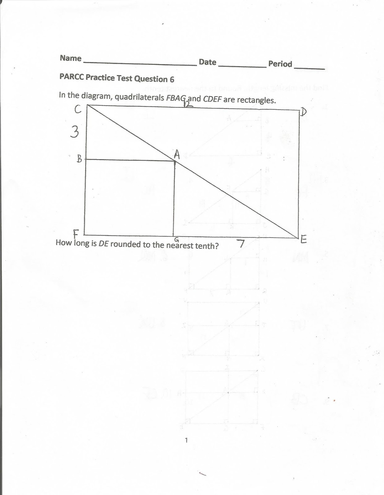 Geometry Common Core Style Parcc Practice Test Question 6 Day 149
