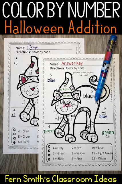 Click Here to Download This Halloween Color By Number Addition Worksheet Freebie For Your Class Today!