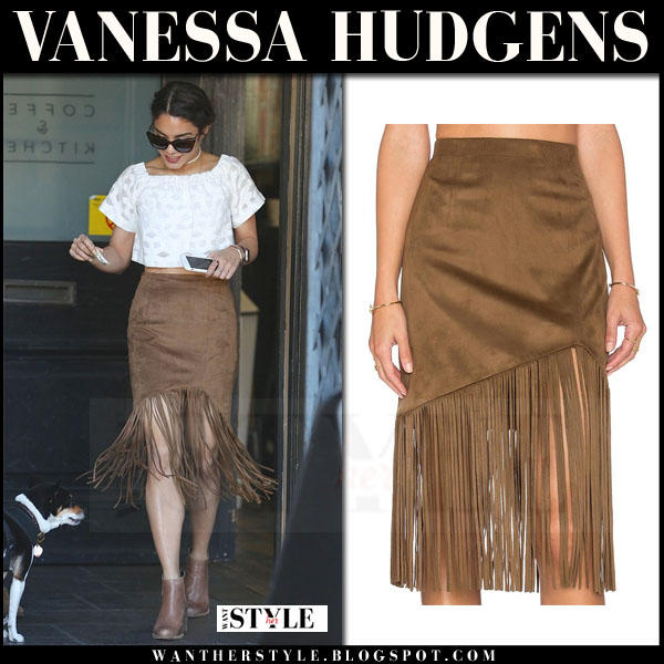 Vanessa Hudgens in brown camel fringe skirt tularosa donna what she wore celebrity trend how to wear