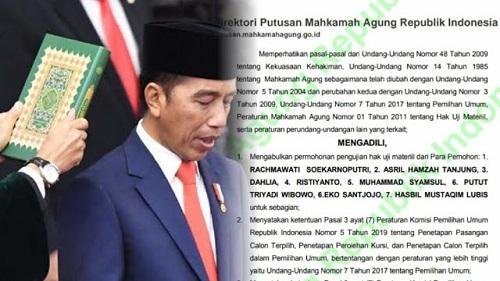 Waduh! Berikut Isi Putusan MA Soal Gugatan Pilpres 2019 Yang Baru Dipublish, Dasar Hukum Penetapan Kemenangan Jokowi Dibatalkan