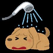 お風呂を嫌がる犬のイラスト
