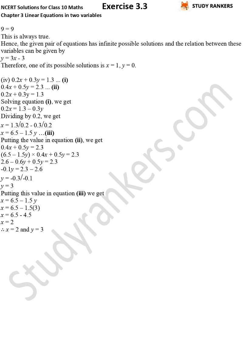 NCERT Solutions for Class 10 Maths Chapter 3 Pair of Linear Equations in Two Variables Exercise 3.3 Part 2