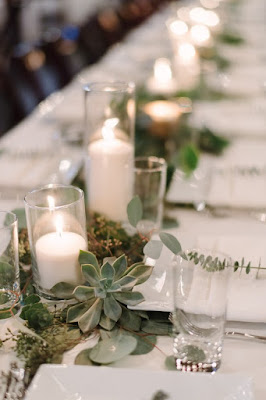 greenery and candles table runners