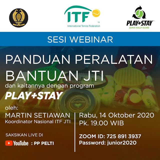 PP PELTI Gelar Webinar Panduan Peralatan Bantuan JTI dan Seputar Program Play+Stay