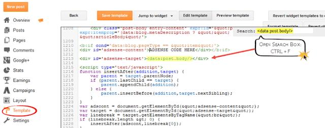 Cara Terbaru Memasang Kode Google Adsense Ditengah Artikel/Postingan Blog