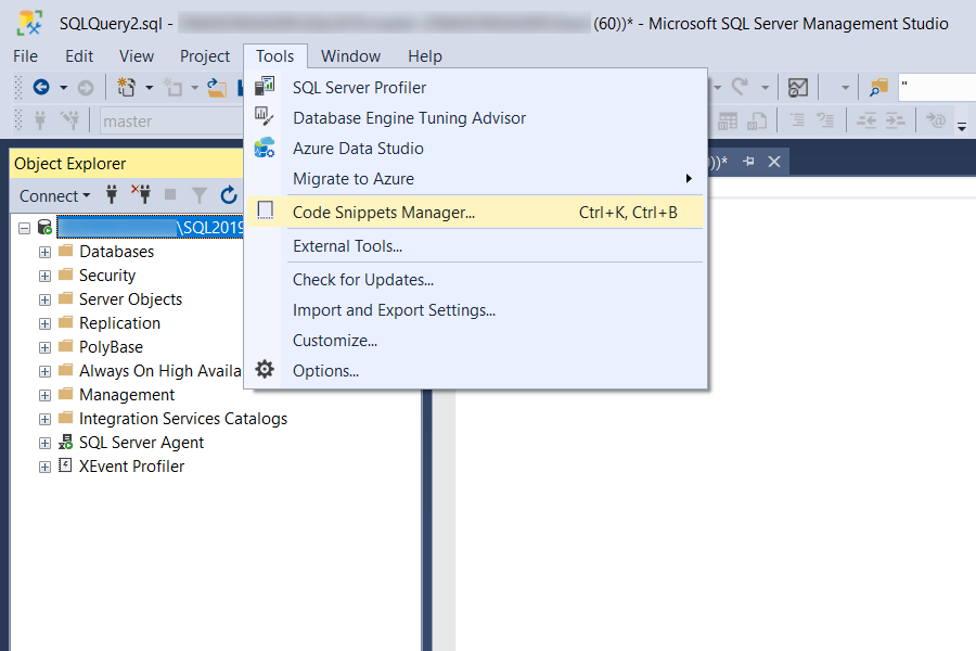 Dave Mason - SSMS Code Snippets Manager