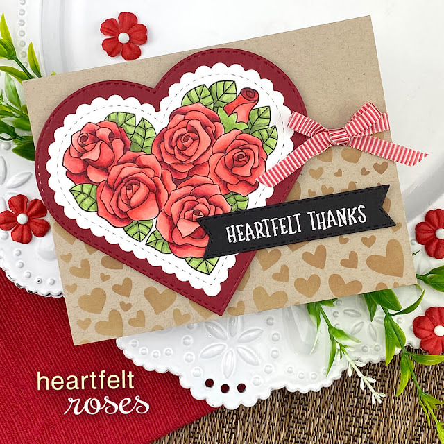 Heartfelt Thanks card by Jennifer Jackson | Heartfelt Roses Stamp set, Heart Frames Die Set, Banner Trio Die Set and Tumbling Hearts Stencil by Newton's Nook Designs