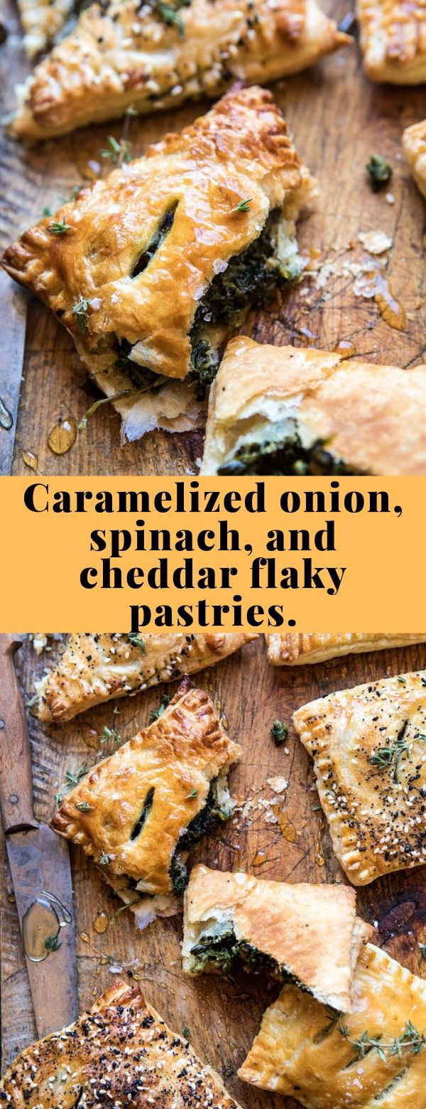 Caramelized onion, spinach, and cheddar flaky pastries. #snack