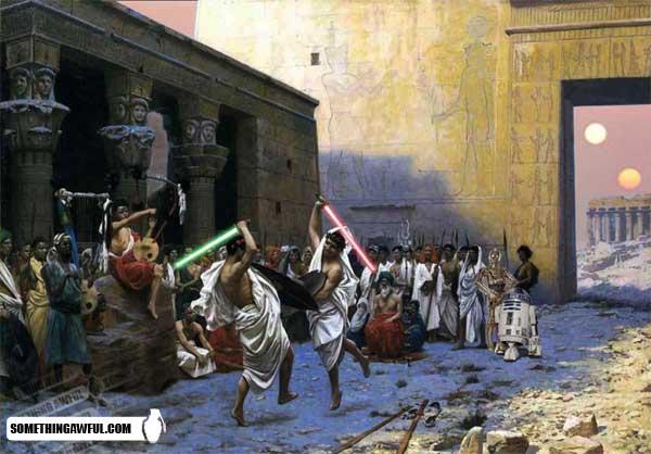 Jean-Léon Gérôme's The Pyrrhic Dance with swords replaced by lightsabers