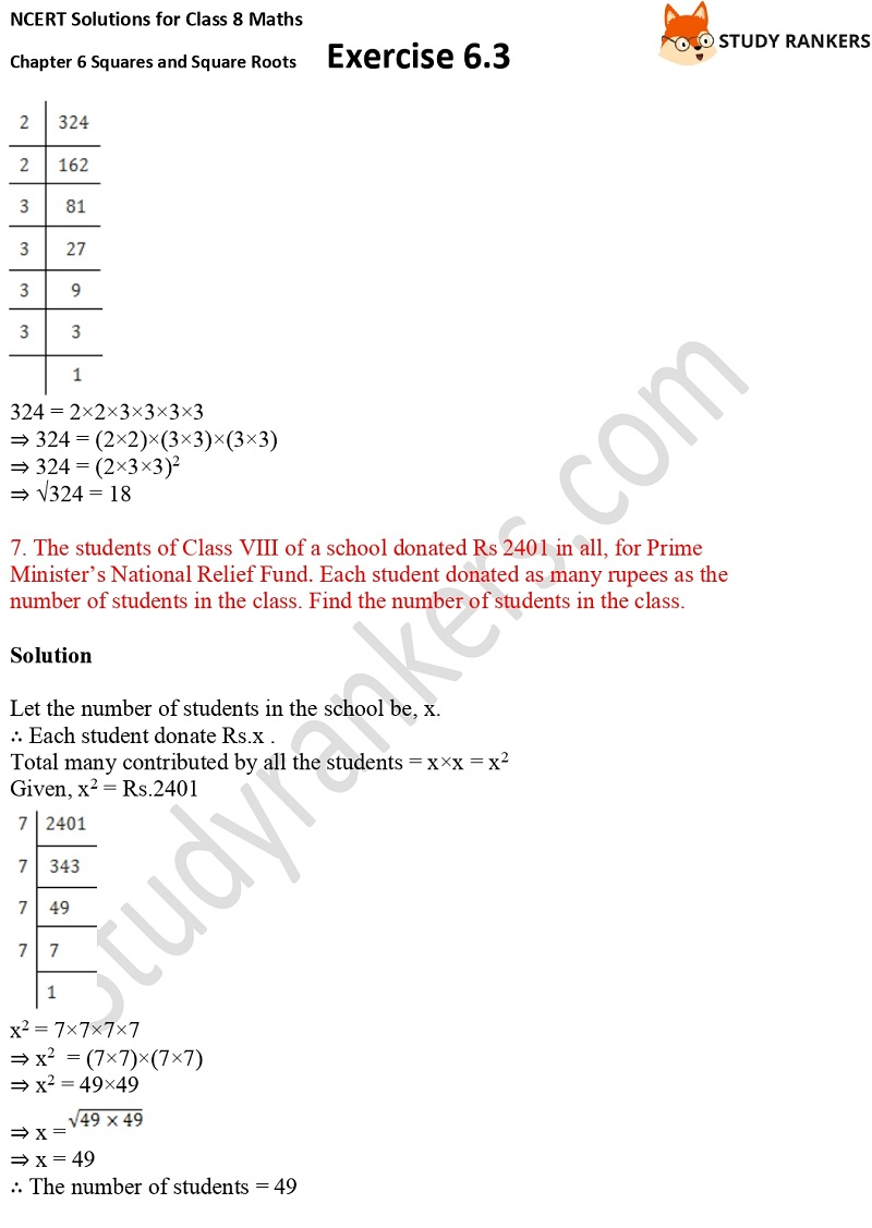 NCERT Solutions for Class 8 Maths Ch 6 Squares and Square Roots Exercise 6.3 18