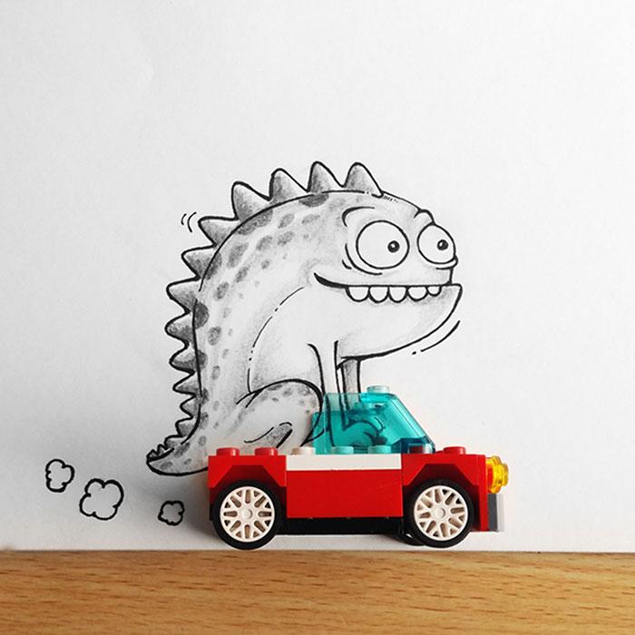 Ilustraciones de un dragón llamado Drogo interactuando con objetos cotidianos