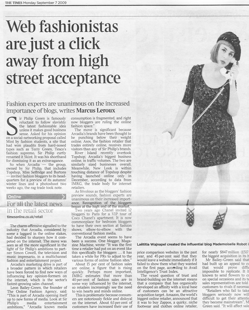 The Times - September 2009 - Web Fashionistas Are Just A Click Away From High Street Acceptance