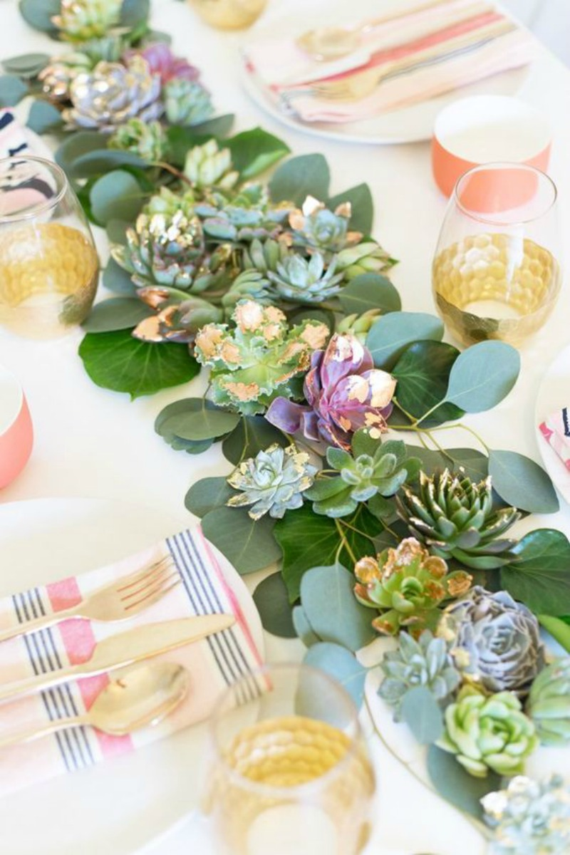 14 Ways to Display Succulents - Succulent Table Runner