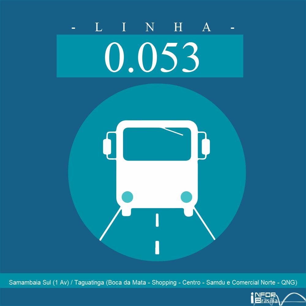 Horário de ônibus e itinerário 0.053 - Samambaia Sul (1 Av) / Taguatinga (Boca da Mata - Shopping - Centro - Samdu e Comercial Norte - QNG)
