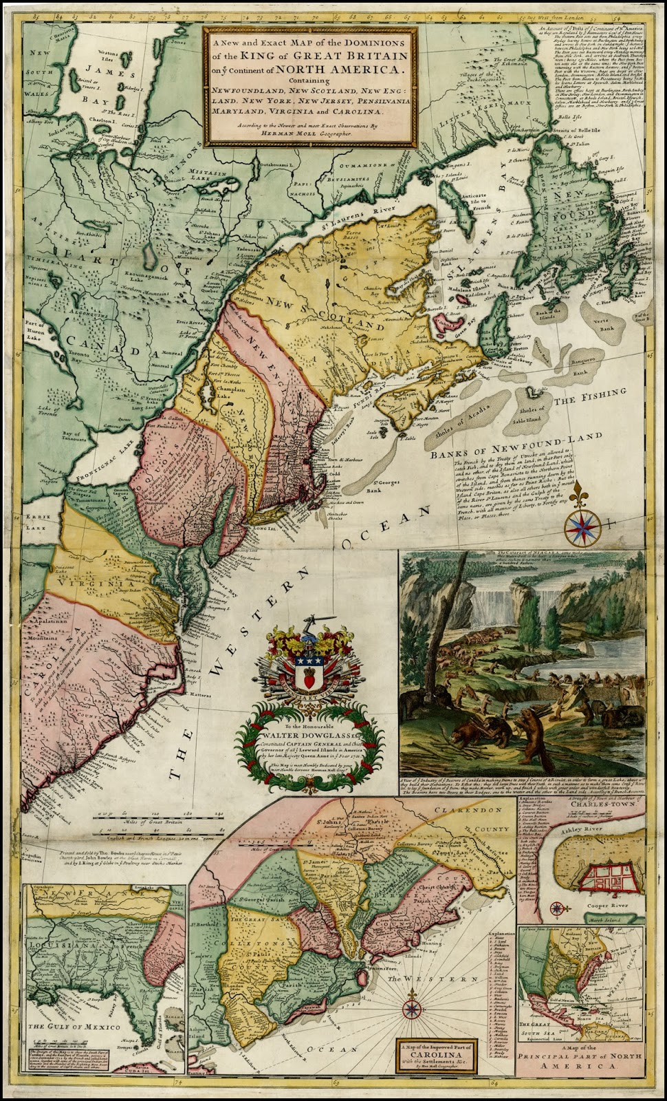 the first map in the cartographic war was this one by british cartographer herman moll it was issued just two years after the treaty of utrecht as a