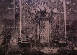 Carel Allard, Feu d'artifice du 26 aout 1697 en l'honneur de l'arrivée à Amsterdam de la Grande Ambassade, Ermitage, St Petersbourg, 1697