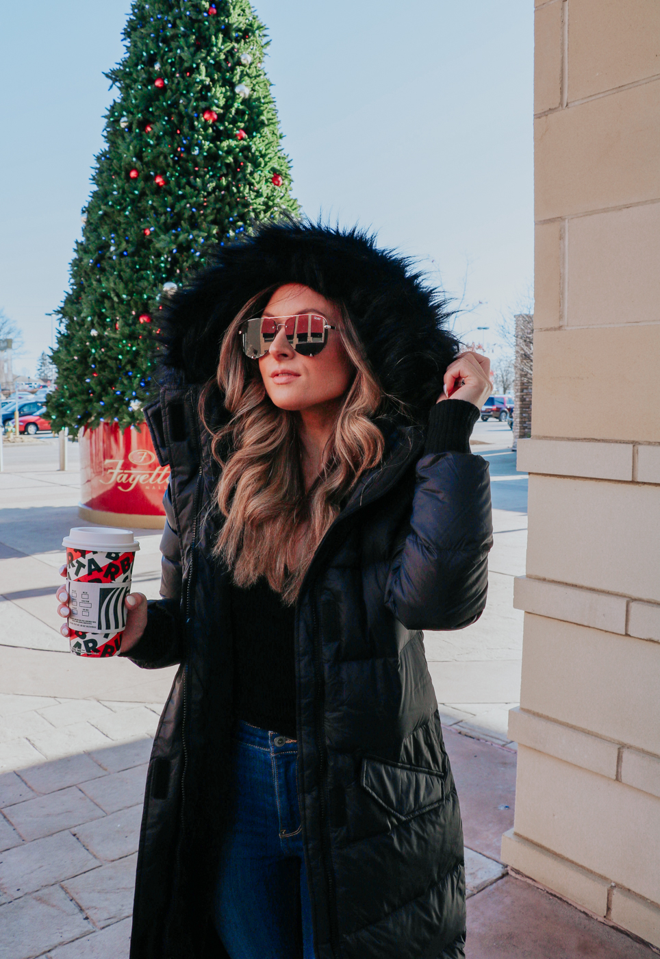 hollister black down filled coat