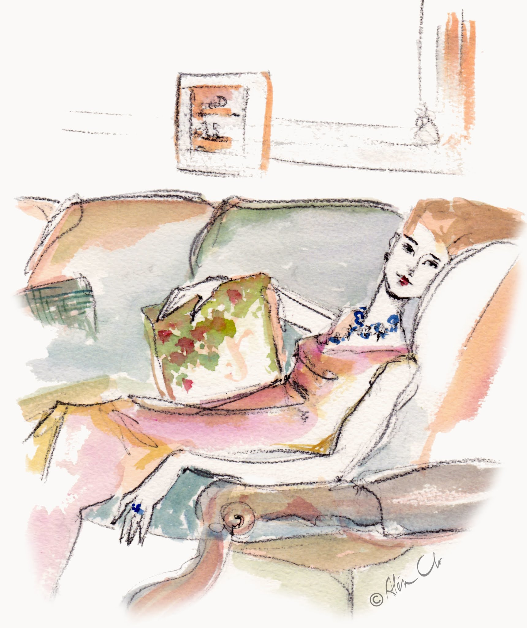 Chic-lady-relaxing-on-sofa