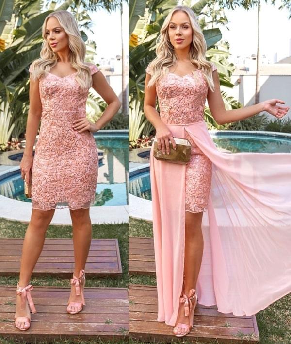 vestido de festa rose modelo 2 em 1
