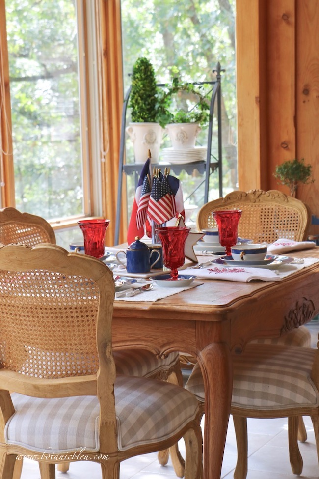 Labor Day patriotic French Country table setting with red, white, and blue