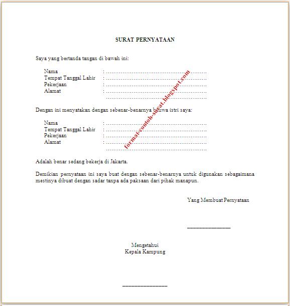 contoh surat pernyataan bekerja