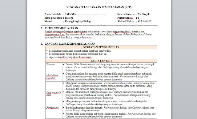 RPP 1 Lembar Biologi Kelas 10 Semester 1 & 2