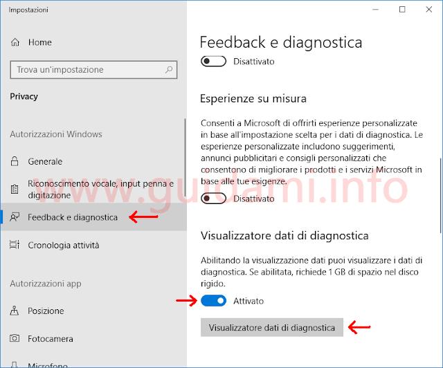 Windows 10 Impostazioni Visualizzatore dati di diagnostica