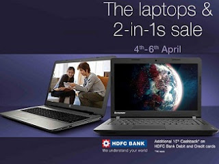 Amazon's Laptop Sale – Upto 25% Off + Extra 10% Cashback on HDFC Debit / Credit Card (Valid till 6th April'16)