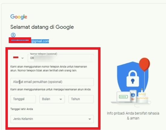 Masukan Data Diri Untuk Daftar Gmail