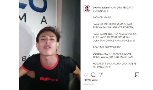 "Unggah Video ""Aku Ora Percaya Corona!"", Warga Purwokerto Diamankan Polisi"