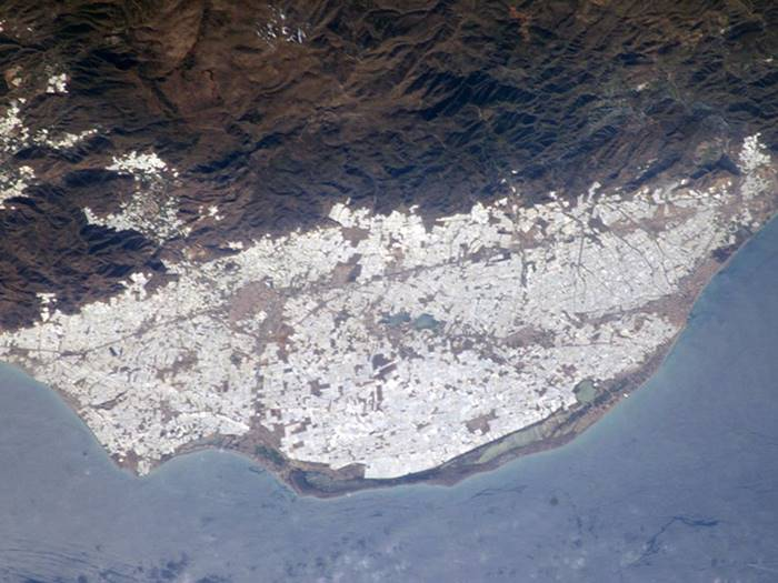 Space view of Greenhouses of Almeria