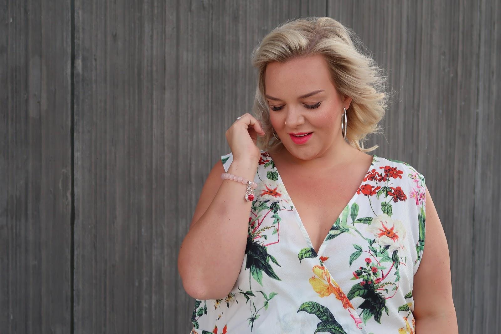 The Quiz Curve Oriental Floral Print Jumpsuit Review by UK Plus Size Fashion Blogger WhatLauraLoves