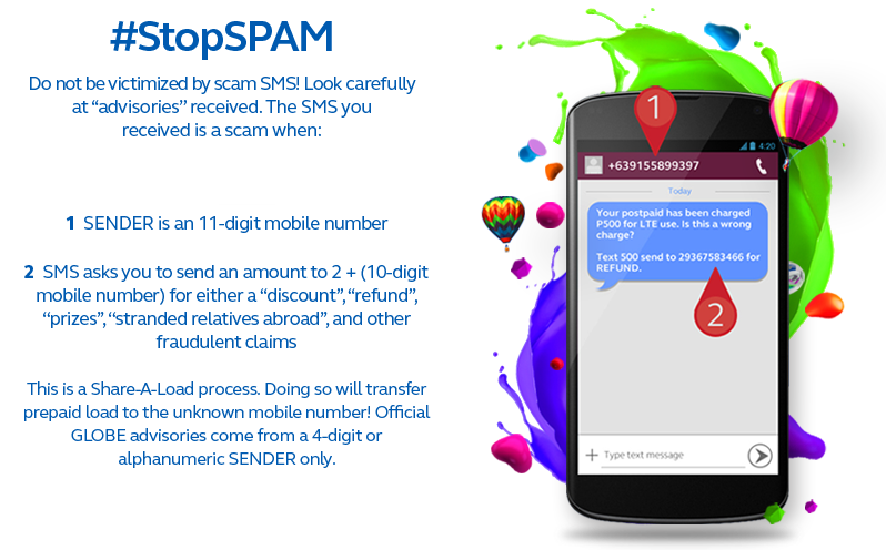 Globe tests network filtering system to block spam/scam