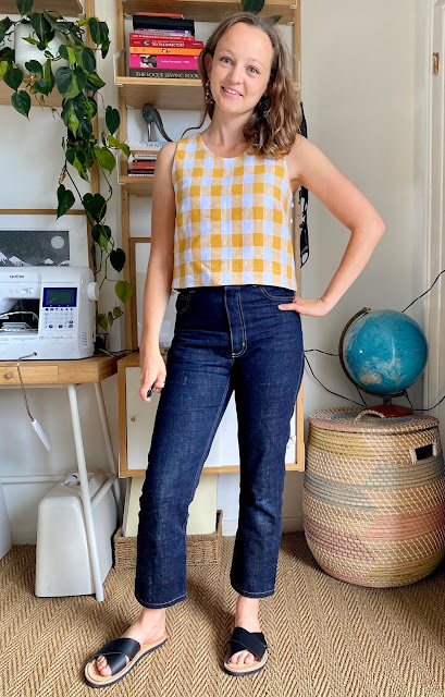 Diary of a Chain Stitcher: Helen's Closet Ashton Top in Bold Yellow Linen Gingham from The Fabric Store