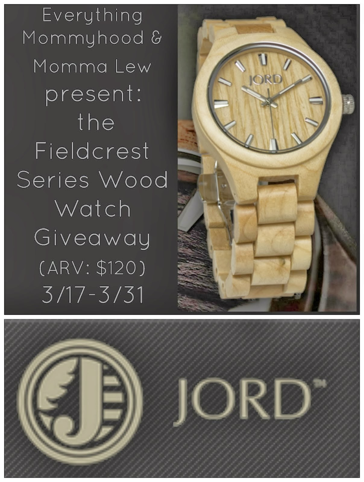 Enter the JORD Wood Watch Giveaway. Ends 3/31.