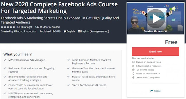 [100% Free] New 2020 Complete Facebook Ads Course For Targeted Marketing