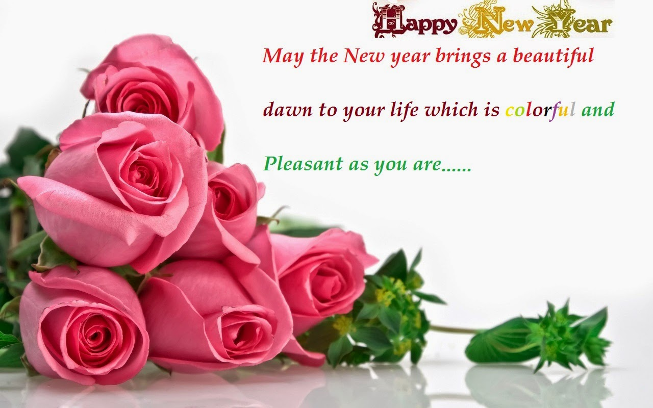 happy new year greetings wishes rose flowers wallpaper