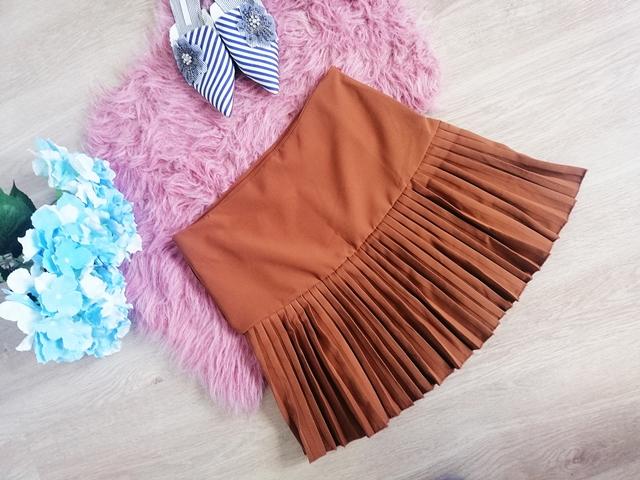 Tan High Waisted Pleated Ruffle Frill Bodycon Mini Skirt - Eleanor