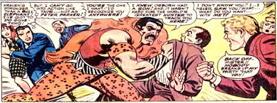 Amazing Spider-Man #47, john romita, at the party, Kraven grabs harry osborn and threatens him, as peter parker shields mary jane watson
