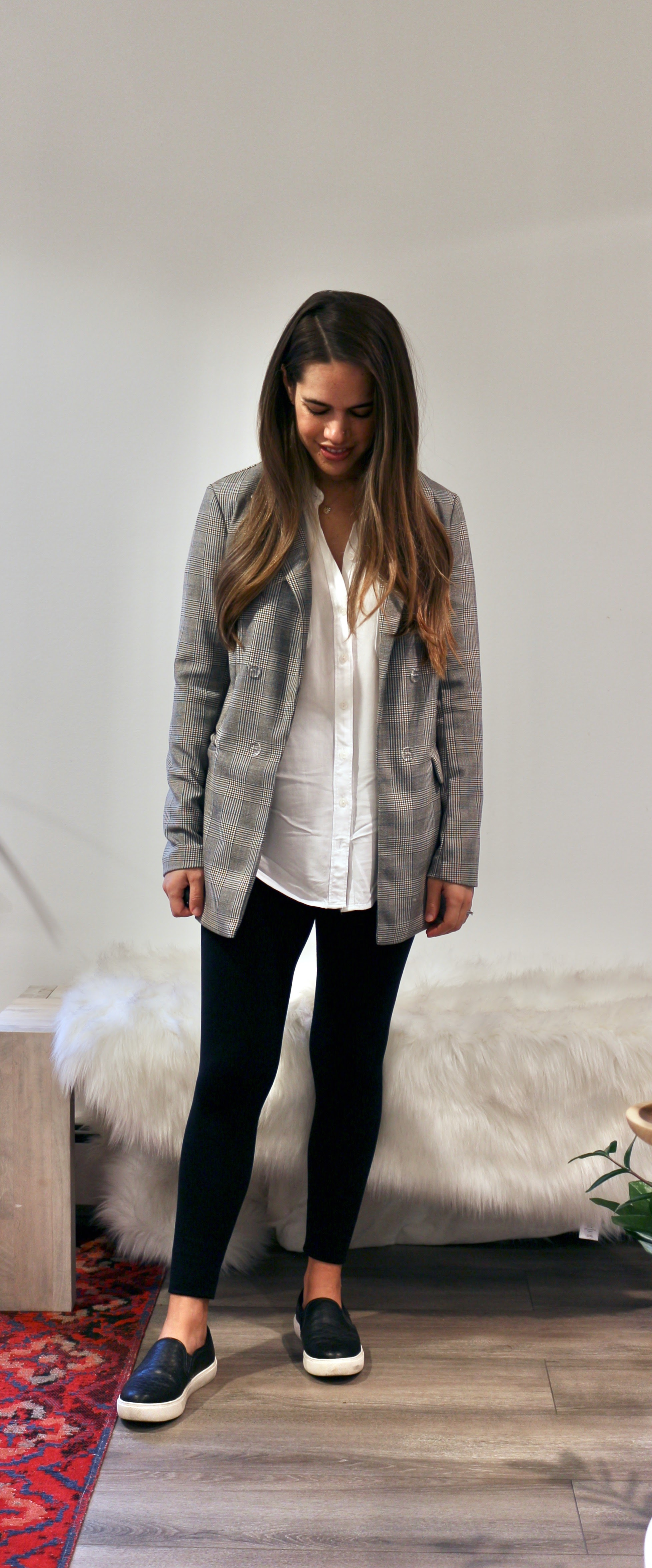 Jules in Flats - Plaid Blazer + Leggings (Business Casual Workwear on a Budget)